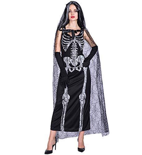 LOBTY Skelett Overall Damen Knochen Skeleton Halloween Kostüm Bodysuit Anzug Karneval - Familienfreundliche Kostüm