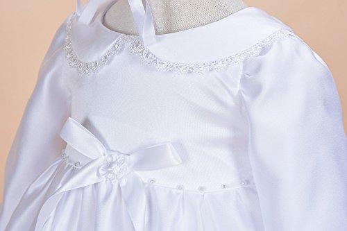 Cinda Traditionelle Baby-Satin Langarm Taufkleid und Motorhaube Weiß 56-62 - 4