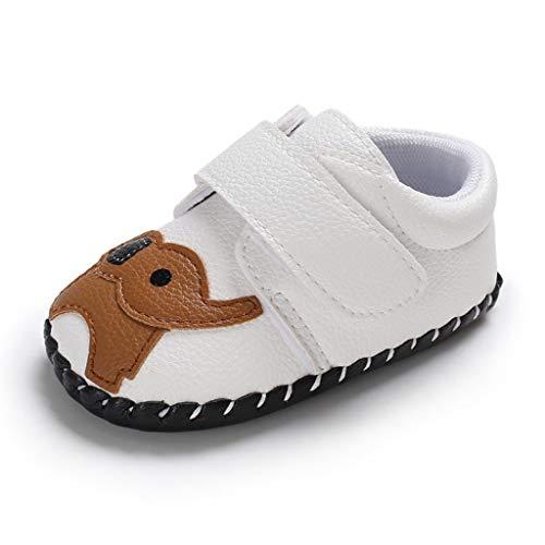 YWLINK Zapatos De Bebé con Fondo Suave Zapatos Casuales con Estampado De Elefante De Dibujos Animados Suela De Goma Zapatillas De Deporte Lindo Zapatos De Primer Paso(Blanco,13EU)