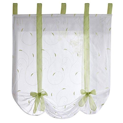 Etopfashion Raffrollo mit Stickerei - Rollo zum Raffen für das Fenster, Zuhause, Küche - Deko-Vorhang - Raumgestaltung, Polyester, grün, 140 cm