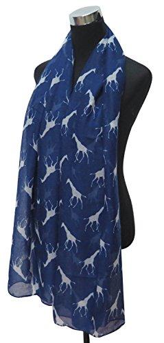 Lina & Lily Écharpe Foulard pour Femme Imprimé Girafe Bleu