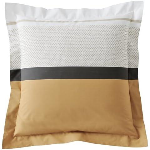 Blanc des Vosges 3UO Opéra - Federa per cuscino, in cotone stampato, percalle, Cannella, 65 x 65 cm