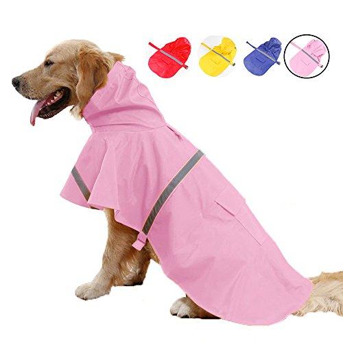 Systond Haustier Hunderegenmantel wasserdichte mit Kapuze Regen Abdeckungen Welpen Hunderegenmantel Slicker Welpen Regenkleidung Kleidung mit reflektierenden Streifen für kleine mittlere große Hunde (Regenschutz Slicker)