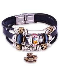 FAIRY COUPLE mehrfarbiger Kristall Kuegelchen exotisch Stil mit Schaukelpferd Anhaenger Leder Armband -19cm L153