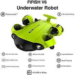 Qysea Drone sous-Marin Fifish V6 avec 6 Directions de Mouvement Caméra 4K UHD Grand Angle 162˚ 12 Megapixels 100 mètres de Profondeur VR Verres 64 GB de mémoire Câble 100m