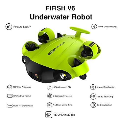 Fifish Unterwasser Drohne V6 mit 6 Bewegungsrichtungen Weitwinkel 162˚ Kamera 4K UHD 12 Megapixel 100 Meter Tiefe VR Brille 64GB Speicherkabel 100m Cmos-pan