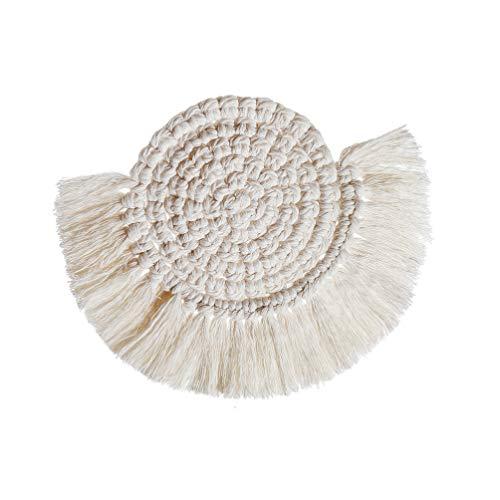 UPKOCH Baumwolle Untersetzer Tasse Tischset rutschfeste Hitzebeständige Heiße Topflappen Topflappen für Zuhause (9Cm Weiß)