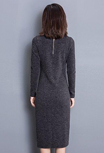 Tribear Damen Strickkleid Seitenteilung Langarm Bodycon Kleid Abendkleid Grau