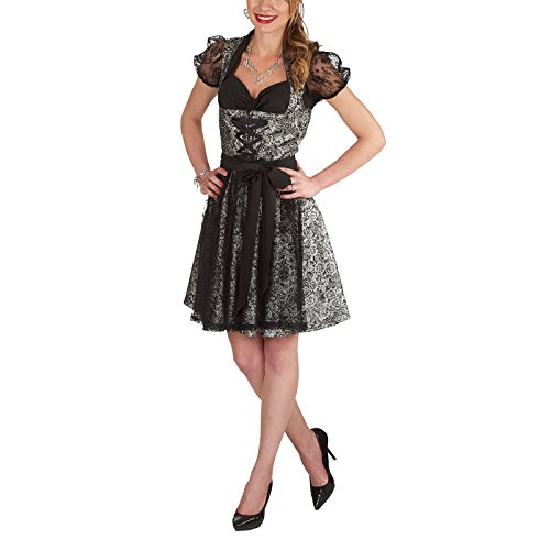 Oktoberfest Fraulein Kostüme Womens (Gothic Dirndl 3tlg. Kleid Bluse Schürze 50cm Rockteil zum Oktoberfest Karneval schwarz silber -)