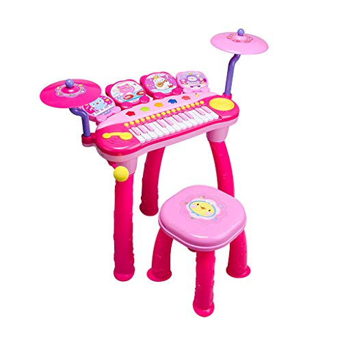 LBYMYB Elektronisches Klavier Kinder Klavierspielzeug Trommel Kinder Klavier Baby Plug-in Anfänger Tastatur für Kinder (Farbe : Rosa)