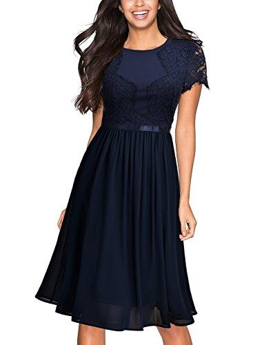 Miusol Damen Abendkleid Sommer Chiffon festlich Kleid Cocktailkleid Vinatge kleider Blau - 3