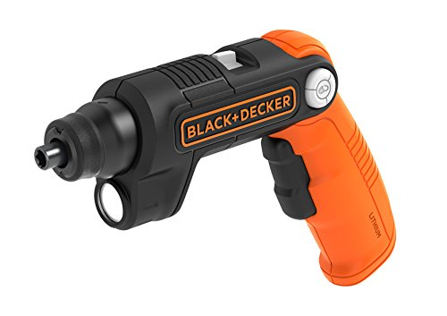Black + Decker BDCSFL20C Pivot Akku-Schrauber (3.6V, 1.5 Ah Li-Ion, 3-Positionen-Handgriff, für eingeschränkte Platzverhältnisse, Rechts-/Linkslauf, integrierte Taschenlampe, inkl. 2 Schrauberklingen), 5.4 W, 3.6 V, Orange