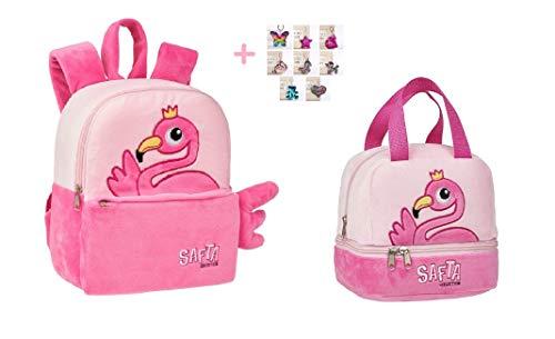 MINI ZAINO ZAINETTO Fenicottero Flamingo Rosa ASILO doppio scomparto + borsa portamerenda + omaggio portachiave girabrilla