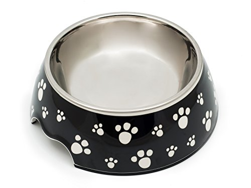 Ciotola in melammina per cani e gatti, due pezzi, antiscivolo, motivo zampa, Domestico (L, 500 ml)