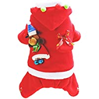 Gusspower Disfraz Navidad Perro Ropa Mascotas Sudaderas con Capucha Vellón con Bolsa de Dulces y Santa Claus para Cachorros Chihuahua Yorkshire