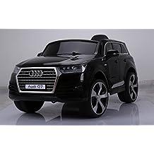 BabyCoches - Coche eléctrico para niños Audi Q7, con LICENCIA OFICIAL AUDI, MODELO 12V, con mando a distancia 2.4Ghz, RUEDAS DE CAUCHO, ASIENTO ACOLCHADO Y EN POLIPIEL, Sistema de audio con FM, MP3 y SD, vehículo con SUSPENSIÓN ( asiento de cuero)