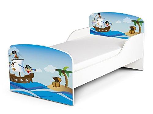 Leomark KINDERBETT 140x70 Funktionsbett Einzelbett mit Matratze Sehr Einfache Montage (Motiv: Piraten II)