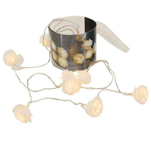 LED Lichterkette Rosen, Weiß, Hochzeit, Tischdeko, LED Beleuchtung, Länge ca. 160cm