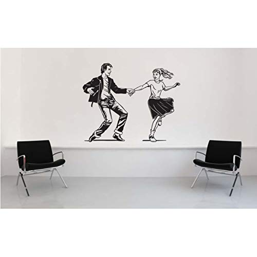 zhangsh Wohnzimmer Wandaufkleber Pudel Rock Niedlich Wand Applikation Sattelschuhe Der 1950Er Jahre Stil Kunst Wandaufkleber Jitterbug Home Livinroom Dekorative Vinyltapete Wm-195 56X69Cm