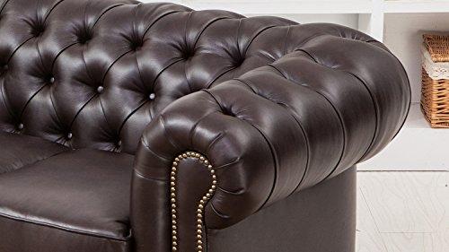 Chesterfield 2-Sitzer 2er-Sofa in dunkelbraun braun glänzend mit Steppung