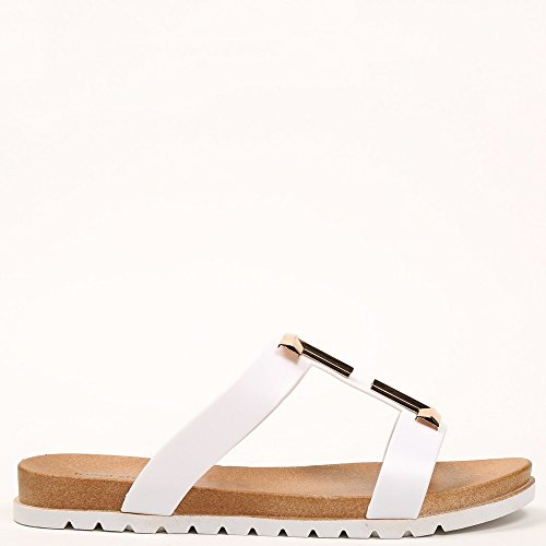 Ideal Shoes - Sandales plates avec bride en caoutchouc Mahena Blanc