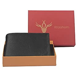 Krosshorn Leather Black Casual Regular Wallet (KW11079)