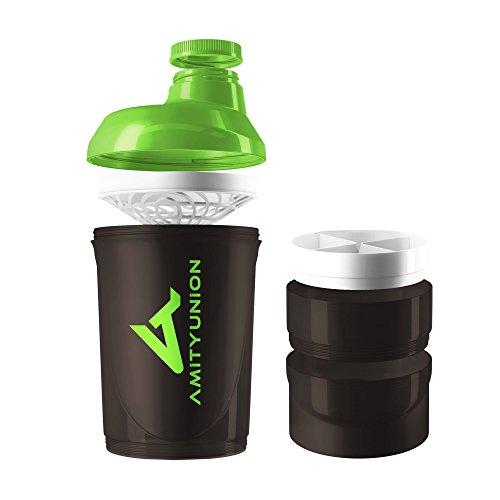 Eiweiß Shaker 700 ml - Das ORIGINAL mit 2 Kammern - Protein Shaker auslaufsicher - BPA frei mit Sieb, Skala für BCCA Shakes, Gym Fitness Becher für Isolate und Sport Konzentrate - Schwarz Grün Cup (Sport-flasche Für Frauen)