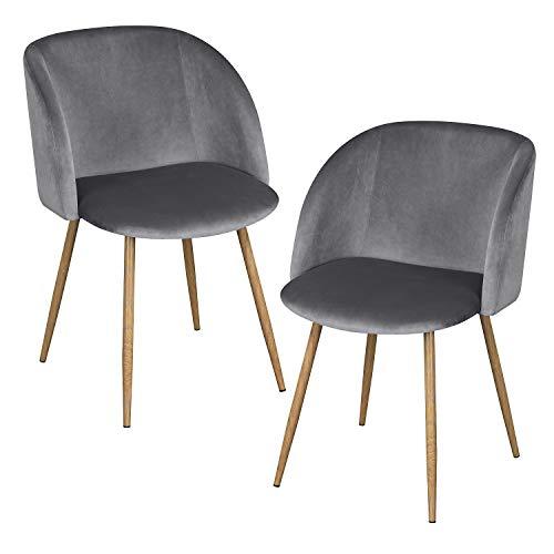 EGGREE 2er Set Vintager Retro Sessel Polstersessel Samt Lounge Sessel Clubsessel Fernsehsessel Grau - Schönen Speisesaal Möbel