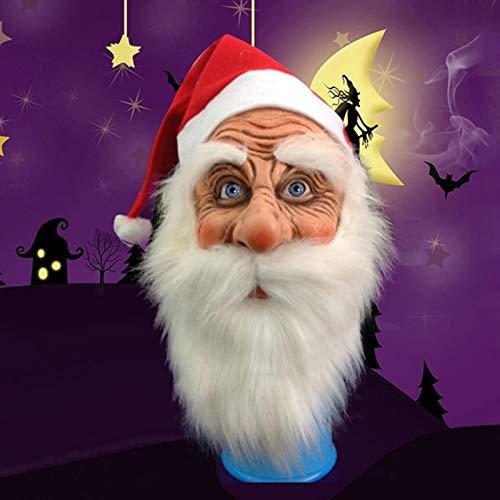 VAWAA Frohe Weihnachten Santa Claus Latex Maske Outdoor Süße Weihnachtsmann Kostüm Maskerade Perücke Bart Dress Up Xmas Party (Süßes Weihnachtsmann Kostüm)