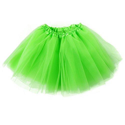 Yezelend Damen Tütü Minirock Organza Pettiskirt 3 Layers Petticoat Tanzkleid Unterrock (Frauen Tutu Grün)