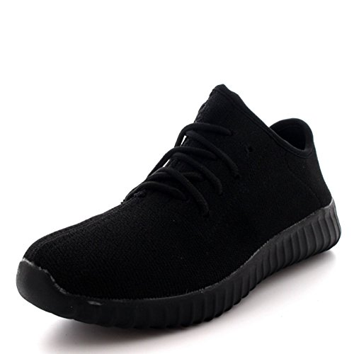 Hommes Des Sports Engrener En Marchant Mode Gym Chaussures Formateurs Noir/Noir