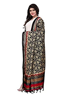 Kanchnar Women's Balck and Red and Multi Dupatta