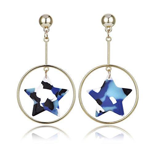 Mix Farbe Starry Sky baumeln Ohrring Camouflage Star Kunstharz Fashion Schmuck Geschenk für Frauen Mädchen