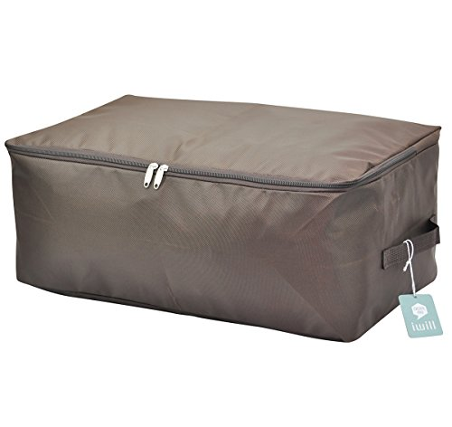 Under bed clothing storage bag, thick oxford fabric storage bin with two handles, Washable and Moisture proof (Brown, L) Test