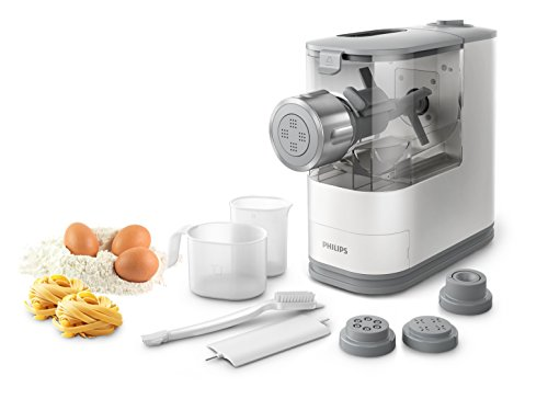 Philips HR2345/19 Viva Collection Pastamaker Bianco con Fronte in Metallo Largo, Solo 13.5 cm