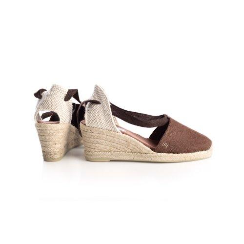 "VISCATA Escala 2.5"" Heel, Soft Ankle-Tie, Closed Toe, Classic Espadrilles Heel Made in Spain brown"