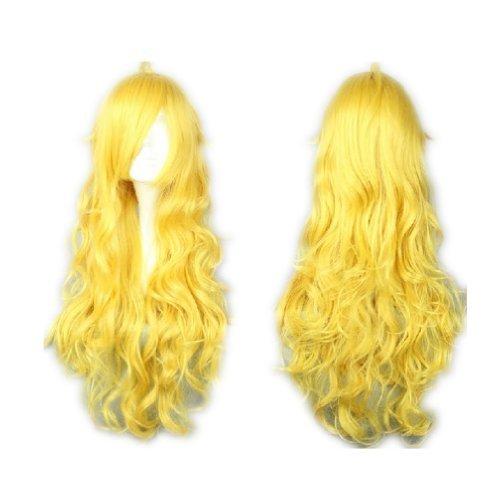 COSPLAZA Cosplay Wigs Kostueme Peruecke lang gelockt Yang Xiao lang blond Gelb Lolita 80cm Fasching Karneval Haar (Weiss Schnee Cosplay Kostüm)