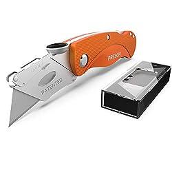 Presch Teppichmesser Profi - Faltbares Cuttermesser Metall Extra Scharf mit 10 Ersatzklingen - Klappmesser für Teppich, Tapeten und Karton