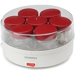 Severin - 3519 - Yaourtière - 13 W - 14 pots 150 ml - + livre de recettes - blanc / rouge