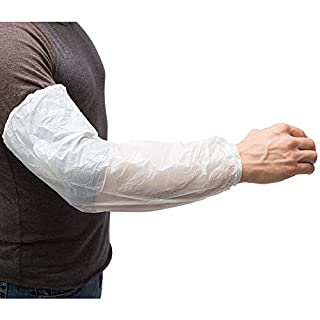 AMMEX - PSLEEVE-W - Poly Sleeve - Disposable, Unisize, White (Case of 1000)