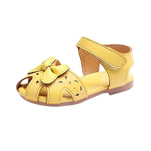 SOMESUN Fashion Kinder Mädchen Sandalen Baby Prinzessin Niedlich Bowknot Weich Kunstleder Sommer Hohl Atmungsaktiv Rutschfest Beiläufig Freizeit Schuhe (EU24, Gelb) (Air Jordan 11 Baby-schuhe)