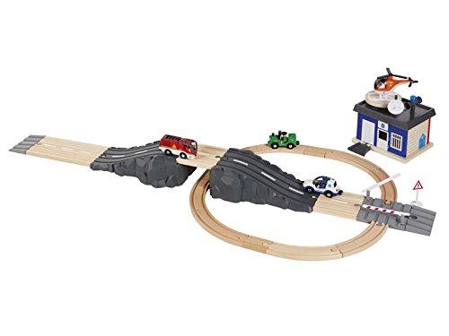 Kinder Holz Schienen /& Straßenset Eisenbahn Autobahn Einsatzleiter Licht /& Sound