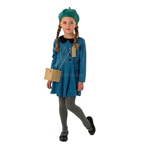Kinder Evacuee Kostüm Rubies Unisex World War 1& 2Jungen Mädchen Fancy Dress Outfit Gr. Größe-S-S-3-4 Jahre, Evacuee Girl (Kinder Evacuee Kostüme)