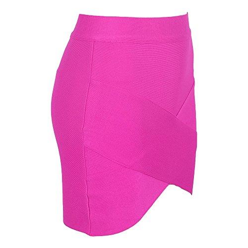 HLBandage Women's Sexy Irregular Mini Bandage Skirt Rosa Brillante