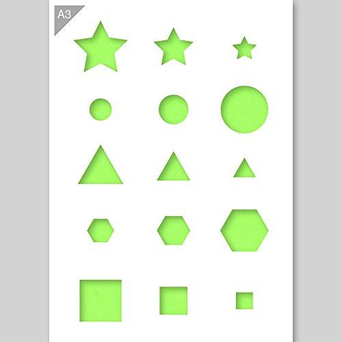 Sterne Würfel Kreis Dreieck Hexagon Formen Schablone - Plastik - A3 42 x 29,7 cm - Höhe oben links Stern 6 cm - wiederverwendbare kinderfreundliche Schablone für Malerei, Handwerk, Wände und Möbel