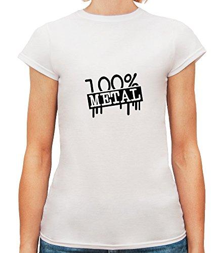 Mesdames T-Shirt avec 100 % Metal Phrase imprimé. Blanc