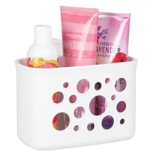 mDesign Duschkorb mit Saugnapf – die ideale Duschablage – auch als Korb fürs Badezimmer – ohne Bohren, keine Montage – aus robustem Kunststoff – Farbe: Weiß