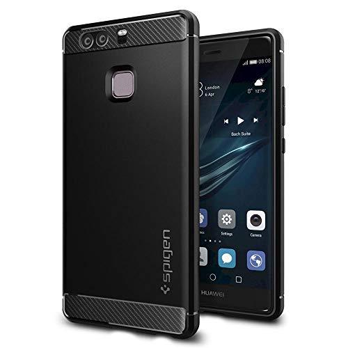 Spigen Huawei P9 Hülle, [Rugged Armor] Elastisch [Schwarz] Ultimative Schutz vor Stürzen & Stößen [Karbon Erscheinungsbild] Schutzhülle für Huawei P9 Case, Huawei P9 Cover Black (L06CS20376)