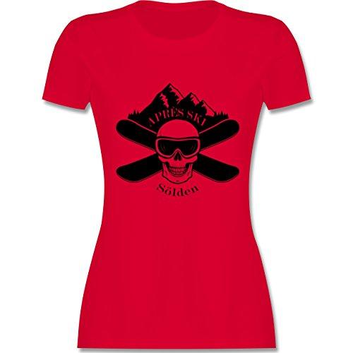 Après Ski - Apres Ski Sölden Totenkopf - tailliertes Premium T-Shirt mit Rundhalsausschnitt für Damen Rot