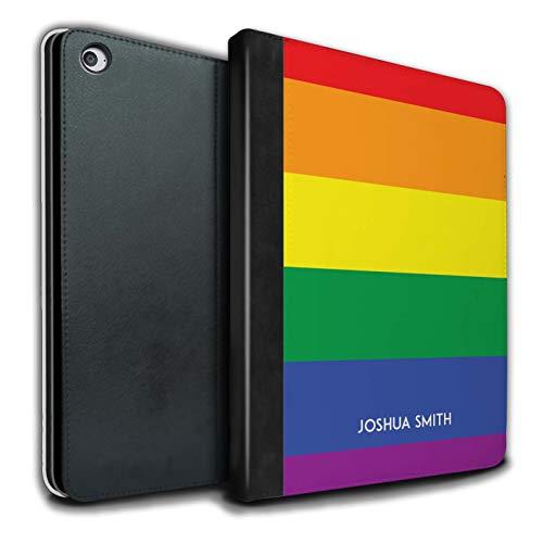 Personalisiert Benutzerdefinierte LGBT Gay Pride PU-Leder Hülle für Apple iPad Air 2 / Regenbogen Streifen Stampel Design/Initiale/Name/Text Tablet Schutzhülle/Tasche/Etui -